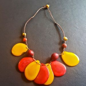 TAGUA NUT FASHION NECKLACE~HAND MADE, HAND DYED.
